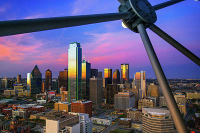 Photograph - Colorful Evening Skyline Of Dallas Texas by Gregory Ballos