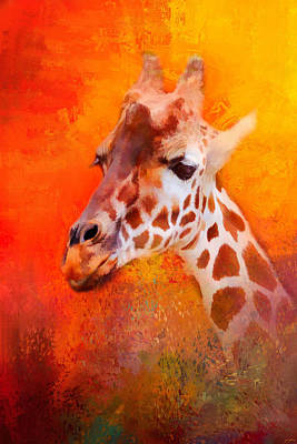 Giraffe Abstract Photograph - Colorful Expressions Giraffe by Jai Johnson