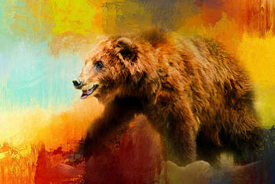 Photograph - Colorful Expressions Grizzly Bear by Jai Johnson