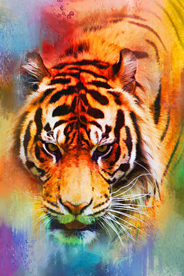Photograph - Colorful Expressions Tiger by Jai Johnson