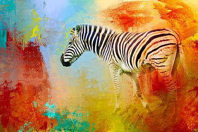 Photograph - Colorful Expressions Zebra by Jai Johnson