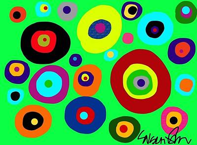 Digital Art - Colorful Eyes In The Green Sky by Susan Fielder