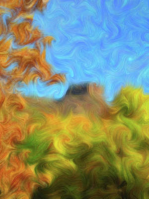 Digital Art - Colorful Fall Leaves With North Table Mountain In Background by Barbara Rogers Nature Inspired Art Photography