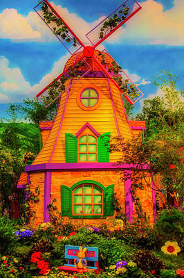 Window Bench Photograph - Colorful Fantasy Windmill by Garry Gay