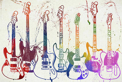 Music Paintings - Colorful Fender Guitars Paint Splatter by Dan Sproul