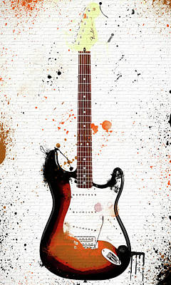 Mixed Media - Colorful Fender Stratocaster On Brick by Dan Sproul