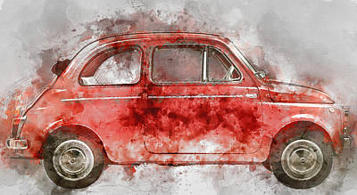 Fiat Car Painting - Colorful Fiat 500 -  No. 2 - By Diana Van by Diana Van