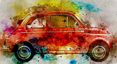Fiat Car Painting - Colorful Fiat 500 -  No. 3 - By Diana Van by Diana Van