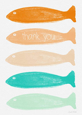 Folk Art Mixed Media - Colorful Fish Thank You Card by Linda Woods