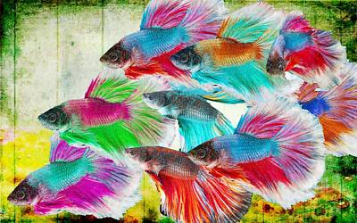 Digital Art -  Colorful Fishes   by MS  Fineart Creations