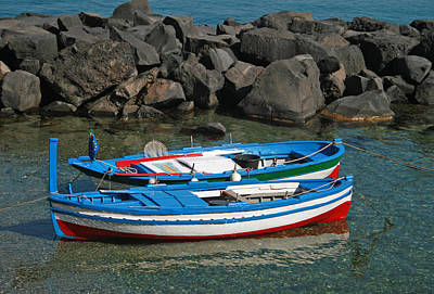 Colorful Fishing Boats Art Print by Chuck Wedemeier