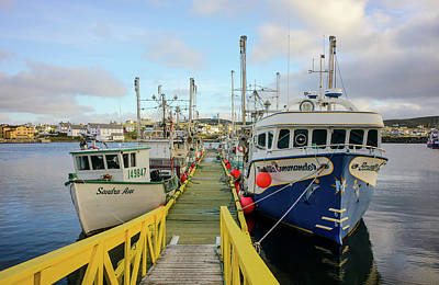 Photograph - Colorful Fishing Boats In Bonavista Harbor by Les Palenik