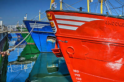 Photograph - Colorful Fishing Boats In Yerseke Harbour by Frans Blok