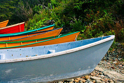 Colorful Fishing Boats On A Rocky Shore  Grand Manan Art Print by Thomas Marchessault