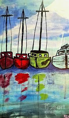 Colorful Fishing Boats Art Print