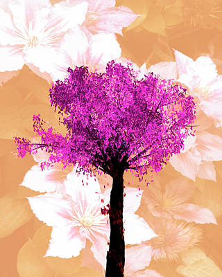 Photograph - Colorful Floral Art Cherry Tree Digital Painting by Debra and Dave Vanderlaan