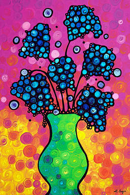 Colorful Flower Bouquet By Sharon Cummings Art Print by Sharon Cummings