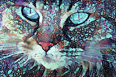 Digital Art - Colorful Flower Cat Art - A Cat Called Blue by Peggy Collins