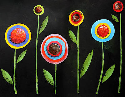 Abstract Shapes Drawing - Colorful Flower Design by Nirdesha Munasinghe