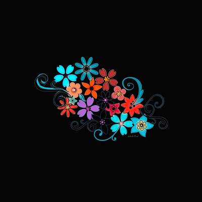 Mixed Media - Colorful Flowers On Black Background by Gabriella Weninger - David