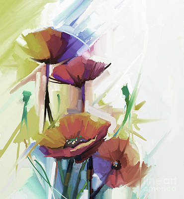 Colorful Flowers Painting 01 Original by Gull G