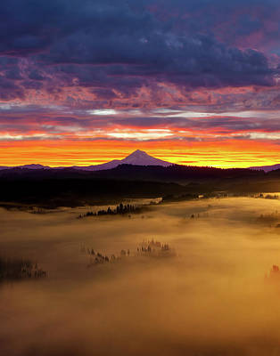 Landscape Photograph - Colorful Foggy Sunrise Over Sandy River Valley by David Gn
