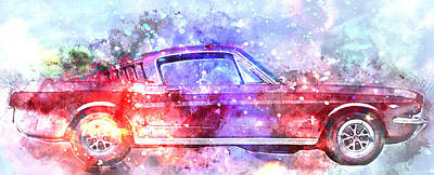 1965 Ford Mustang Painting - Colorful Ford Mustang 1965  No. 1 - By Diana Van by Diana Van