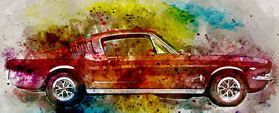 1965 Ford Mustang Painting - Colorful Ford Mustang 1965  No. 2 - By Diana Van by Diana Van