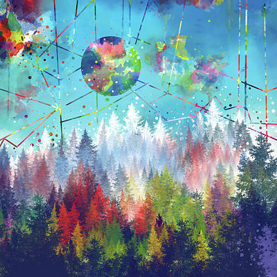 Yosemite Painting - Colorful Forest 4 by Bekim Art