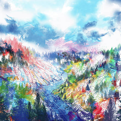 Yosemite Painting - Colorful Forest 5 by Bekim Art