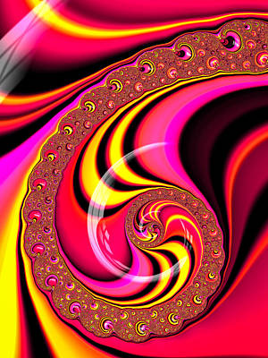 Candy Digital Art - Colorful Fractal Spiral Red Yellow Pink by Matthias Hauser