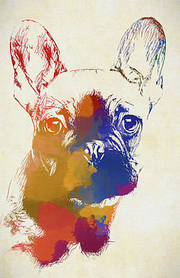 Painting - Colorful French Bulldog by Dan Sproul