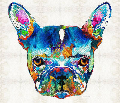 Black And White Art Painting - Colorful French Bulldog Dog Art By Sharon Cummings by Sharon Cummings