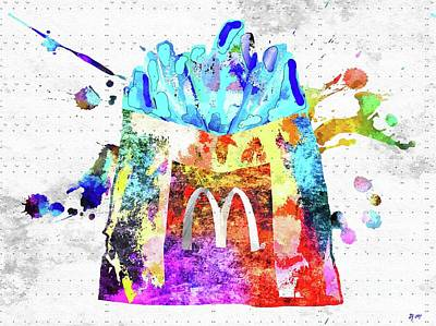 Potato Mixed Media - Colorful French Fries by Daniel Janda