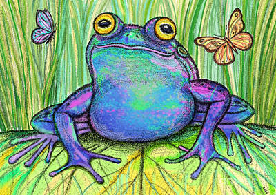 Toads Drawing - Colorful Frog And Butterflies by Nick Gustafson