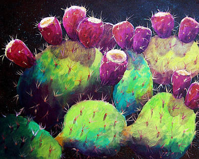 Prickly Pear Painting - Colorful Fruit by Candy Mayer
