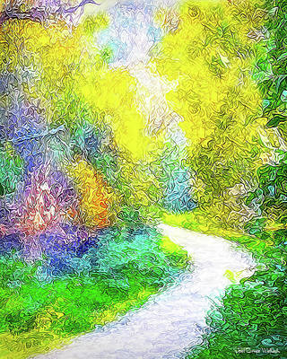 Art Print featuring the digital art Colorful Garden Pathway - Trail In Santa Monica Mountains by Joel Bruce Wallach