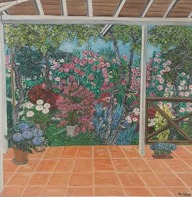 Plain Air Painting - Colorful Garden by Petra Theodoridou