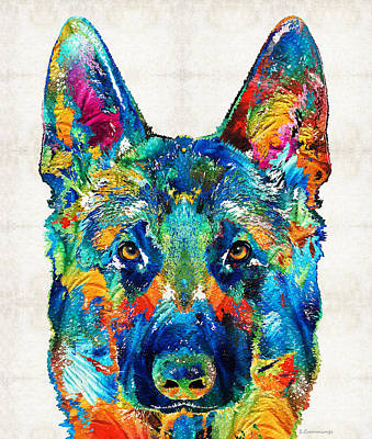 Colorful German Shepherd Dog Art By Sharon Cummings Art Print