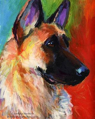Colorful German Shepherd Painting By Art Print