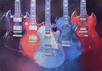 Painting - Colorful Gibson Guitars by Dan Sproul