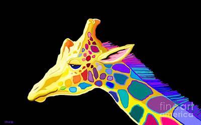 Digital Art - Colorful Giraffe by Nick Gustafson