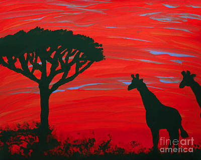 Photograph - Colorful Giraffe Sunset by D Hackett