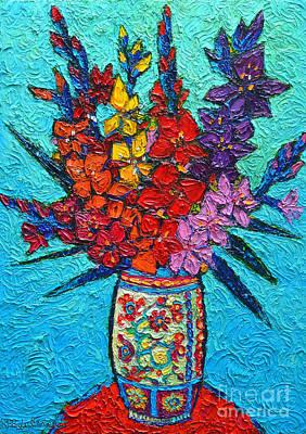 Contemporary Ceramics Painting - Colorful Gladiolus by Ana Maria Edulescu
