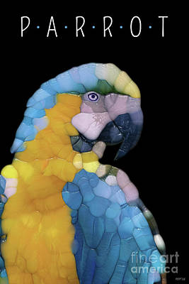Mimic Digital Art - Colorful Glass Parrot by Phil Perkins