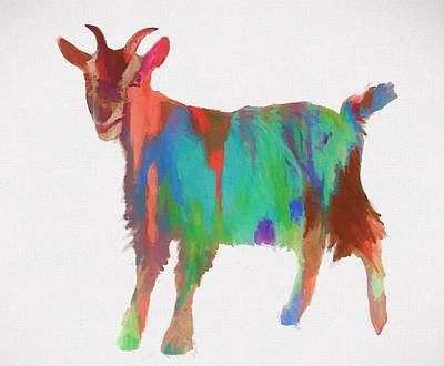 Goat Mixed Media - Colorful Goat by Dan Sproul