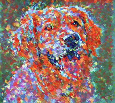 Puppy Dog Eyes Painting - Colorful Golden Retriever by Dan Sproul