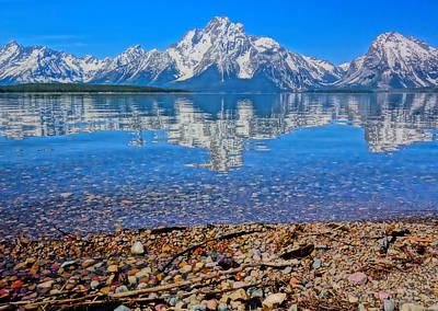 Teton Mixed Media - Colorful Grand Teton Reflection From Dollar Island by Dan Sproul
