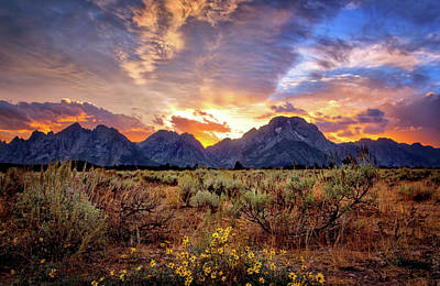 Photograph - Colorful Grand Teton Sunset by Carolyn Derstine