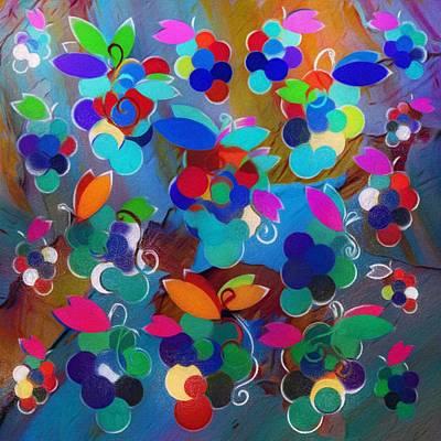 Mixed Media - Colorful Grapes Abstract by Gabriella Weninger - David